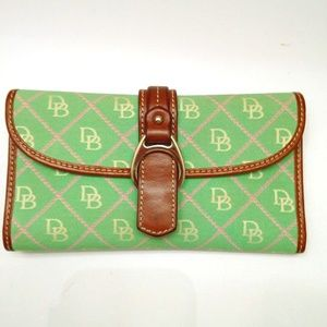DOONEY & BOURKE GREEN WITH BROWN LEATHER TRIM